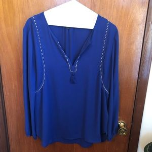 JCrew Blue Tassel Blouse 6 White Black Roping
